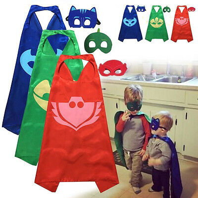 Superhero PJ Cape+Mask Set Owlette Catboy Cosplay Kids Birthday Costume Party