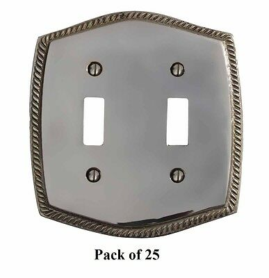 25 Switchplate Chrome 5 1/4 H Braided Double Toggle | Renovators Supply