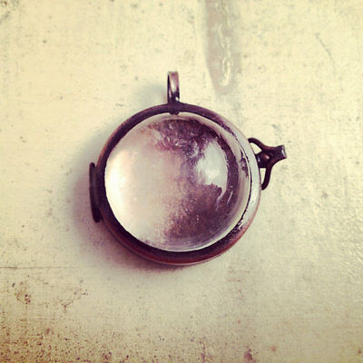 Magnifying Locket, Glass Bubble, Antique Bronze, Hinged Frame, Vintage Style
