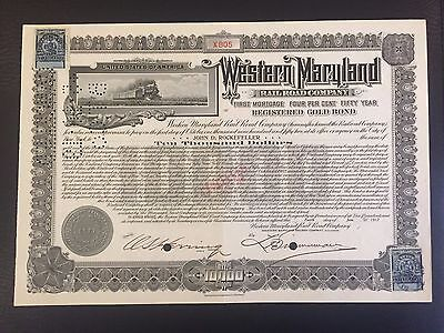 1917 Western Maryland RR Bond Issued to JOHN D. ROCKEFELLER! Rare NY Tax Stamps!