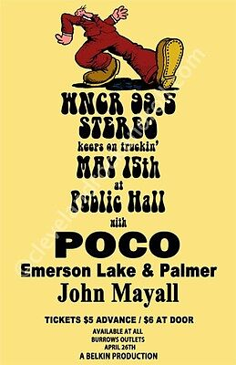 Poco/ELP/John Mayhall 1971 Cleveland Concert Poster