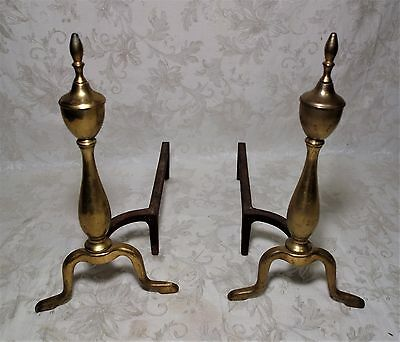 "Vintage Set Of Cast Iron & Brass Fireplace Andirons Fire Dogs 16"" Tall"