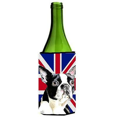 Boston Terrier With English Union Jack British Flag Wine bottle sleeve Hugger...
