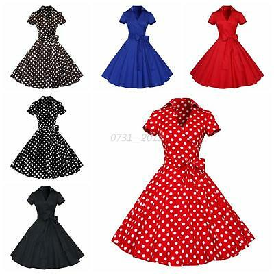 Women Vintage 1950s Polka Dot Swing Retro Housewife Pinup Rockabilly Party Dress
