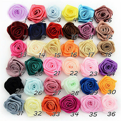 100pcs Satin Ribbon Rose Flower Bow Wedding Decoration Appliques DIY 36 Colors