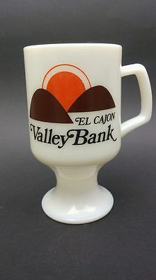 Vintage White Milk Glass Mug Cup Valley Bank Adversiting El Cajon