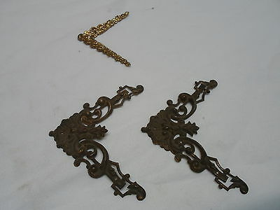 3 corner decorations -Brass? extra fancy, from  Victorian picture frames