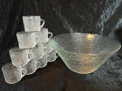 Anchor Hocking SORENO Clear Punch Bowl and 10 Cups