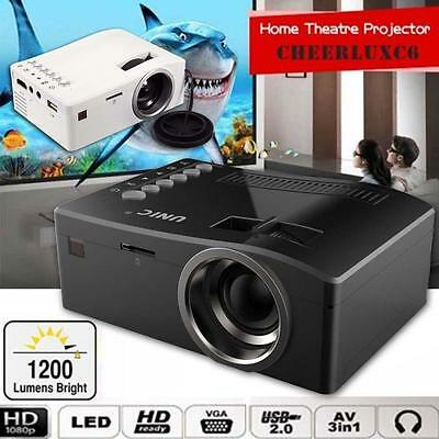 Hot Cinema Theater Multimedia LED LCD Projector HD 1080P PC AV TV HDMI Color WE