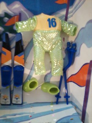 Barbie baby KELLY TOMMY RYAN Olympic SKIING Snowsuit SKIS Green BOOTS clothes