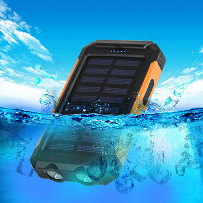 US 50000mah Solar Power Bank 2 LED 2 USB Battery Charger Waterproof Black+Orange