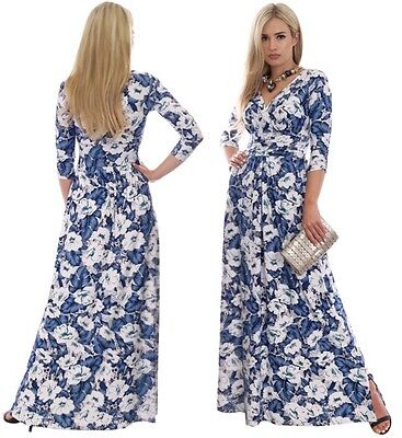 Long Wedding Party Dress Day Evening Floral Maxi White Blue Maternity Suitable