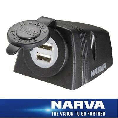 Narva HDRV Power Heavy-Duty Dual USB Socket Surface Mount 81154BL