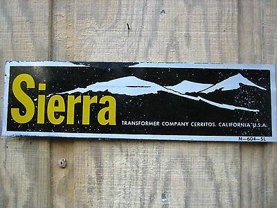 Vintage 17'' by 4 3/4''   Metal SIERRA TRANSFORMER COMPANY Nameplate/sign