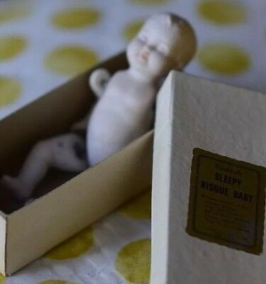 ANTIQUE BISQUE BABY Pretty Tiny Handmade Sleepy Fully Jointed