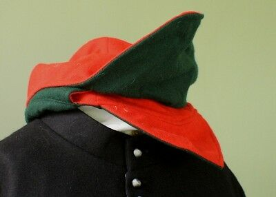 17th Century wool Montero cap Green and Red