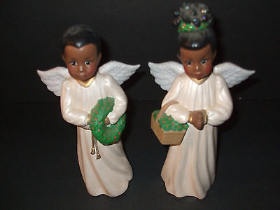 African-American Boy and Girl Christmas Angel Pair