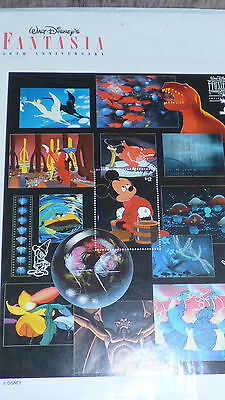 Disney Fantasia Official 1991 A4 stamp sheet - mint - ltd issue - rare