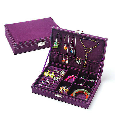 Velvet Jewellery Box Ring Earring Necklace Jewelry Storage Travel Case With Key