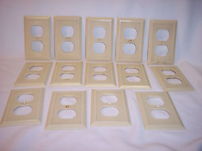 Vintage Lot of 14 Bakelite Ivory Ribbed Outlet Plate Covers Art Deco Canada Made