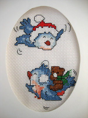 Completed Finished Cross Stitch Card ''santa Hat Birds & Bearkin""