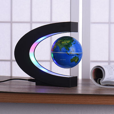 C shape LED World Map Decoration Magnetic Levitation Floating Globe Light Nice