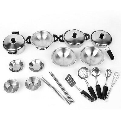 Stainless steel Cookware Kitchen Cooking Set Pots & Pans Toy for Children