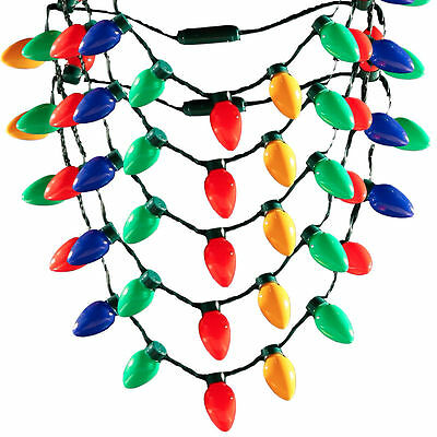 Christmas Flashing LED Light Bulb Necklace 6 Modes of Blink Setting Party Favors
