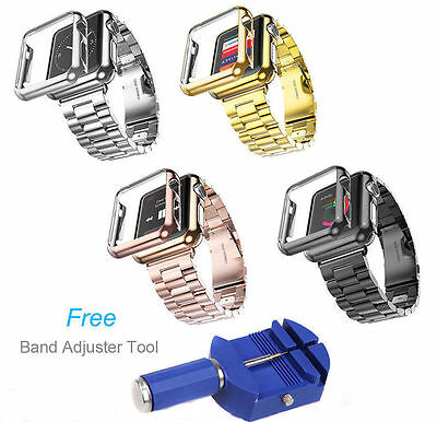 Stainless Steel Strap Watch Band/Adapter/Case Cover for Apple Watch iWatch 38 42