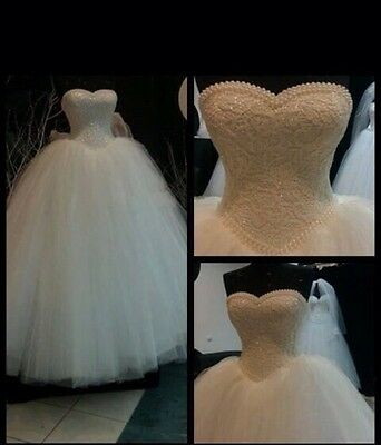 UK Lace Pearls White/Ivory Sequins Wedding Dress Bridal  Gown Size 6-18