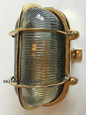 Industrial Bulkhead Wall Light Ceiling Vintage Antique Retro Ship Lamp Brass Old