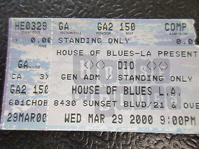 DIO concert Comp ticket stub House of Blues 2000