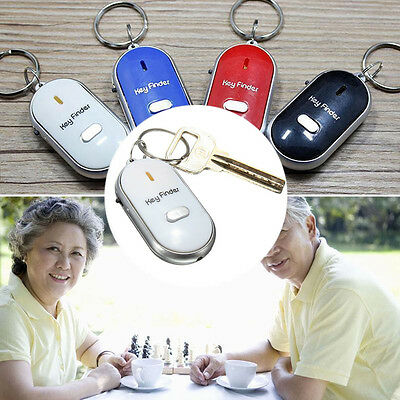 LED Anti-Lost Key Finder Locator Keychain Whistle Beep Sound Control Torch