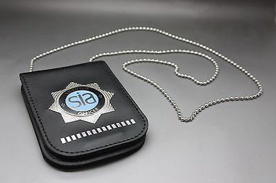 Leather Warrant Style Police Card Holder Security Industry Sia Badge