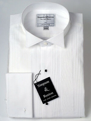 Simpson & Ruxton Pleated Front Dress Shirt Wing Collar