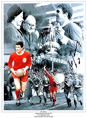 RON YEATS LIVERPOOL FC HAND SIGNED PHOTO AUTHENTIC GENUINE + COA - 16x12