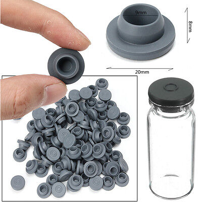 100pcs 20mm/0.79'' Gray Rubber Stoppers Plugs For Glass Vials Penicillin Bottle