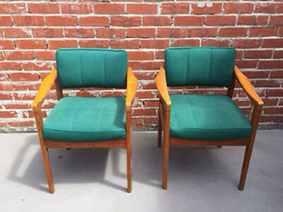Vintage 1970s Retro wooden office chairs x 2