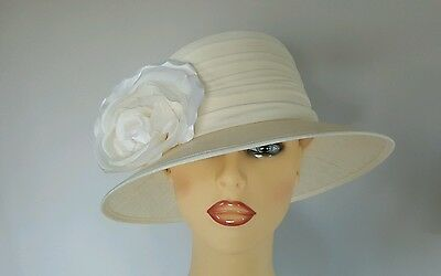 Ladies Wedding Mother Bride Races Hat Ivory by Whiteley England