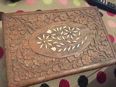 Antique wooden box beautiful bone inlay lovely condition