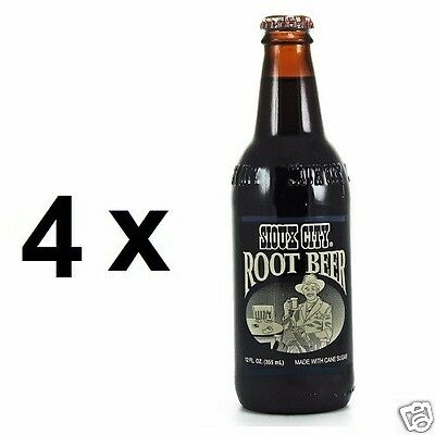 4 x USA SIOUX CITY Root Beer Soda Drink 355ml ea. (Sweetened wtih Cane Sugar)