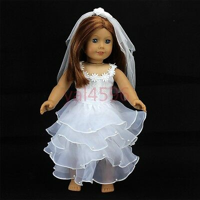 New white wedding dress for American girl doll of 18 inch doll accessories