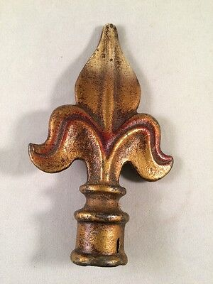 "Vintage 5"" Brass Fleur Di Lis Finial With Red Accents"