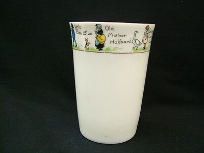 Vintage white china beaker decorated with nursery rhyme characters