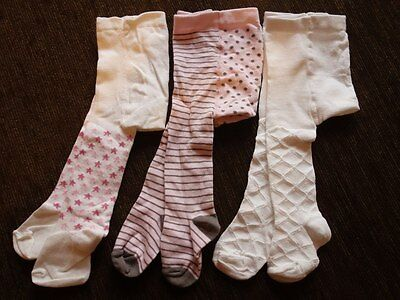 Girls' 3 Pack 0-6 Months Matalan Cream and Pink Tights New out of Pack