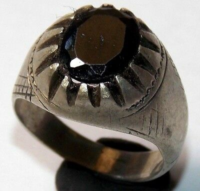 MEDIEVAL SILVER RING WITH BLACK STONE VERY NICE 6.6gr 24.0mm (18.0mm inner)