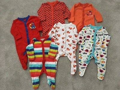 Mothercare Bundle Of Baby Boy Patterned Sleepsuits - New Baby Up To 7.5Lbs