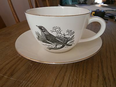 Large cup & saucer, Crown Staffordshire, Thomas Bewick.