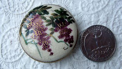 Large Vintage Satsuma button - Wisteria and gilding