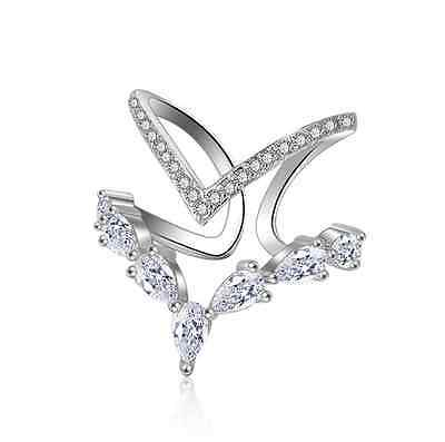 925 Sterling Silver Ring Inlaid Crystal Zircon Open Rings Women Fashion Jewelry